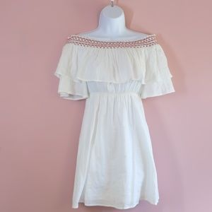 White Strapless Dress with Red Emroidery